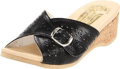 Worishofer Women's 251 Buckled Slide,Black,35 EU (US Women's 5 M)