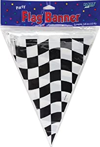 Creative Converting Flag Pendant, 10 by 12-Inch, Black and White