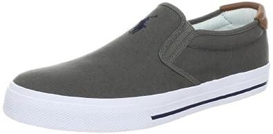Polo Ralph Lauren Men's Vaughn Slip-On Sneaker, Grey/New Navy, 8 D US