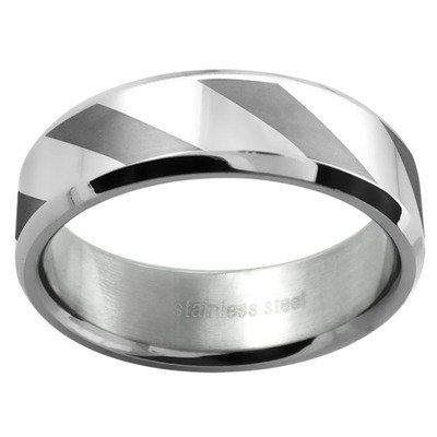 Ladies Polished and Matte Lined Wedding Band Ring Size: 8.25