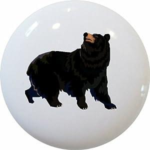Set of 2 Black Bear Ceramic Cabinet Drawer Knobs