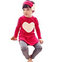 Little Hand Girls Outfits Heart Shaped Red Shirt and Leggings Kids Sets 3-8 Years 7