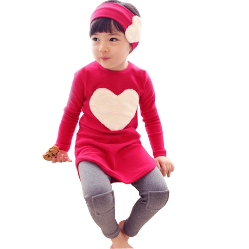 Little Hand Little Girls' Outfits Heart Shaped Red Shirt And Leggings Sets 3-8 Y