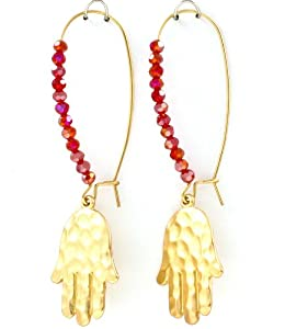 Accessory Accomplice Matte Goldtone Hammer Finish Hamsa Charm Red Bead Dangle Earrings