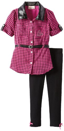 Little Lass Little Girls' 2 Piece Belted Houndstooth Legging Set, Fuchsia, 3T back-1040428