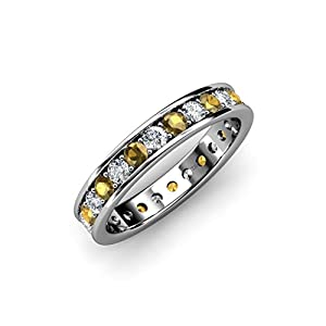 Citrine & Diamond Channel with Prong Set Eternity Band 1.25 ct tw to 1.44 ct tw 14K White Gold.size 6.5