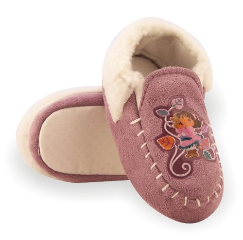 Image of Dora the Explorer Toddler Girls Lilac Faux Suede Moccasin Slippers (B005VKTL68)