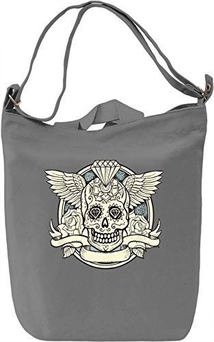 Winged skull Borsa Giornaliera Canvas Canvas Day Bag| 100% Premium Cotton Canvas| DTG Printing|