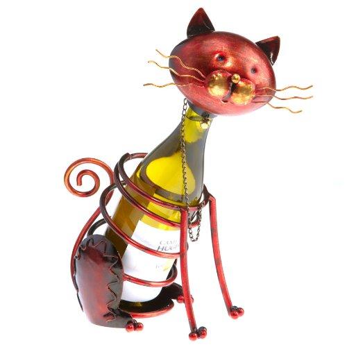 Deco Flair Cat Figurine Metal Wine Bottle Holder