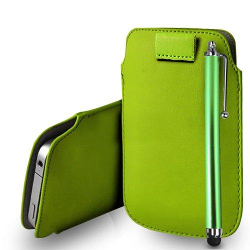 Huawei Ascend G620s Green Leder Pull Tab Tasche Tasche + Stylus Pen & Poliertuch