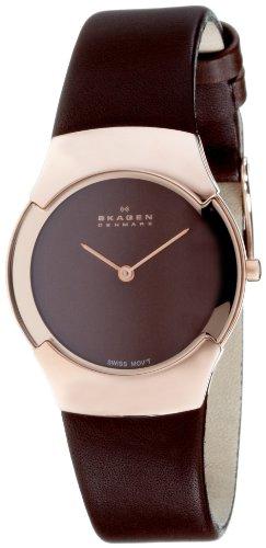 Skagen Women's Swiss Brown Leather Watch 582SRLM