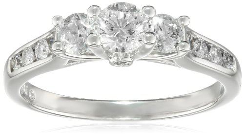 14K White Gold And White Diamond Three-Stone Engagement Ring (1 Cttw, H-I Color, I1-I2 Clarity), Size 7