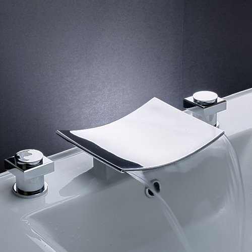 Ouku® Solid Brass Two Handle Widespread Flexible Desk Mounted Bathroom Bath Tub Faucet Chrome Waterfall Bath Shower Faucets Vessel Sink Plumbing Fixtures Unique Designer Cheap Discount Shower Mixer Ta