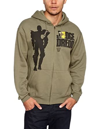 Amazon.com: Judge Dredd Silhouette Official Mens New Green Zipped