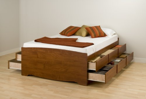 Prepac Monterey Cherry Tall Double Platform Storage Bed (12-drawers)