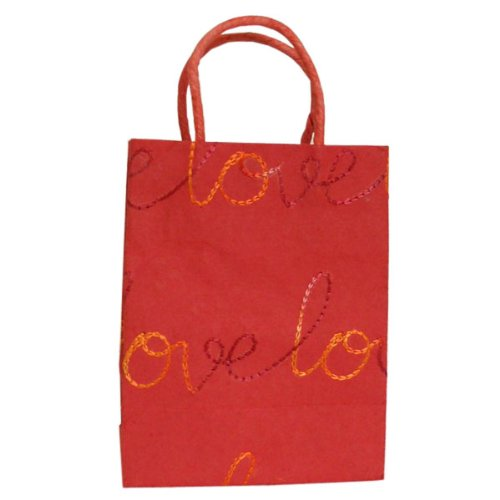 Valentine's day gift. Cotton Recycled Indian Handmade Paper Bag Color is Red Eco Friendly Wholesale 5 Pices Lot. Lovely Gift.
