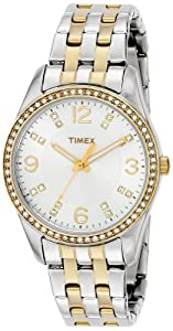 Timex Women's Dress T2P389 Two-Tone Stainless-Steel Quartz Watch with White Dial