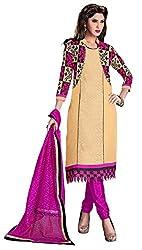 Manvaa Women's Beige Pink Embroidered Chudidar Dress Material