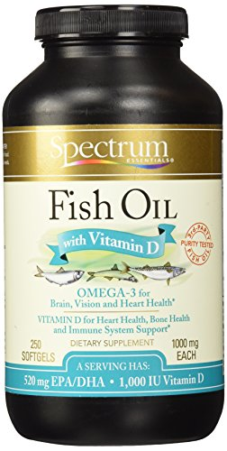 Spectrum essentials fish oil with vitamin d softgels 250 for Fish oil vitamin d
