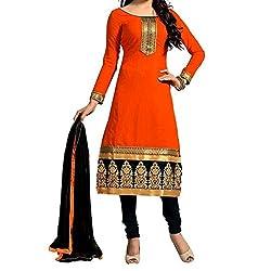 Shree Hari Creation Women's Poly Cotton Unstitched Dress Material (252_Orange_Free Size)