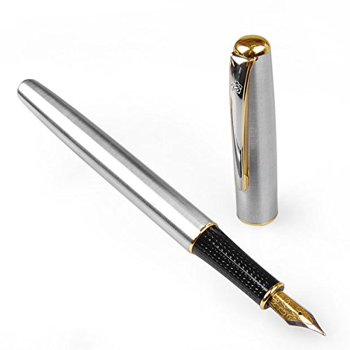 Hot sale hero silver color with golden ring fountain pen m