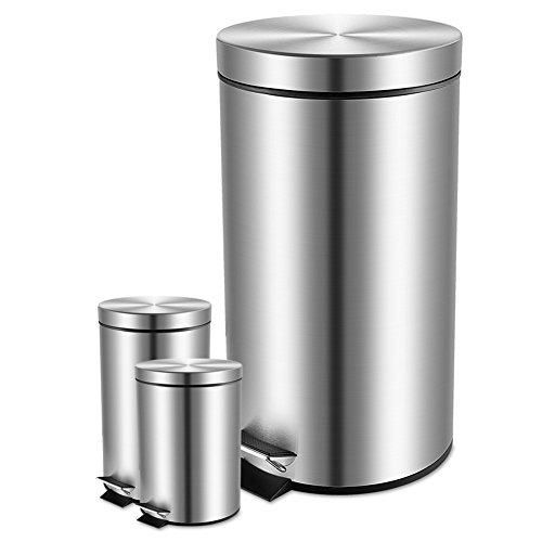 MELODY OLINA Set of 3 Stainless Steel Step Trash Can with Lid for Kitchen and Bathroom,0.8+1.3+8 Gallons (Big Kitchen Trash Can compare prices)