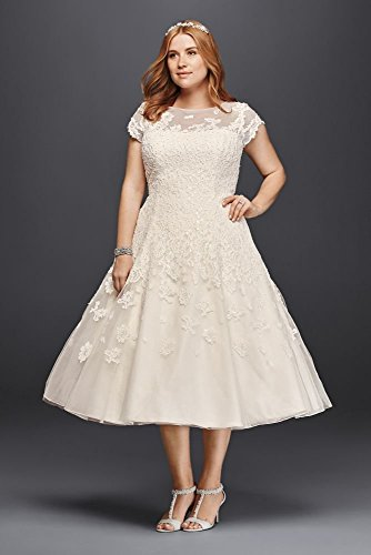 dress plus size sleeves tea length