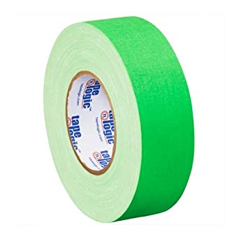 """Tape Logic T9874FG Gaffers Tape, 11 mil Thick, 50 yds Length x 2"""" Width, Fluorescent green (Case of 24)"""