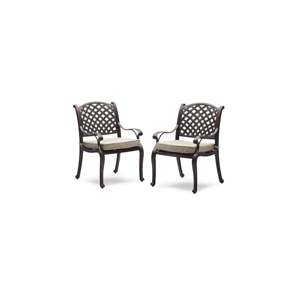 Strathwood Bainbridge Cast Aluminum Dining Chair with Cushion, Set of 2