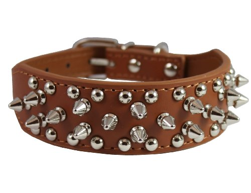 Brown Leather Spiked Studded Dog Collar 16