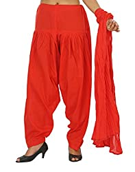 Yashka Women's Cotton Patiala Dupatta Set (YASHKA 7301_Red_Free Size)