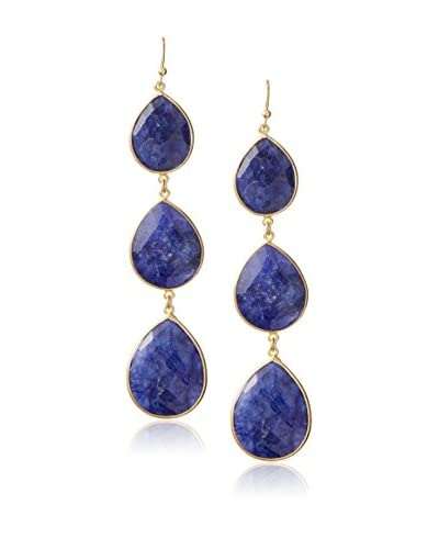 Liv Oliver 18K Gold-Plated Sapphire Three Stone Drop Earrings