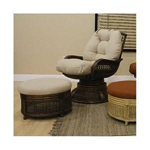 Legacy Rattan Swivel Rocking Deep Seating Chair and Ottoman Set Fabric: Rave Brick