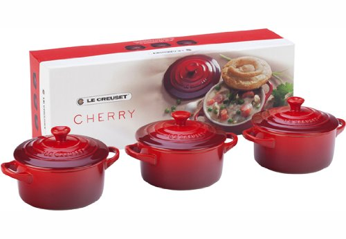 Le Creuset Stoneware Petite Round Casserole Gift Set, Cerise (Cherry Red) (Le Creuset Small Dutch Oven compare prices)