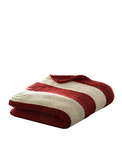 Eddie Bauer Stripe Knit Throw, Oyster/Red