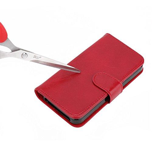 NIMASO® iPhone SE 本革 手帳型 防水ケース [ 横置きスタンド機能付き カード収納 紙幣収納 マグネット対応 装着やすい ] 耐摩擦 耐汚れ 防塵 衝撃吸収 携帯電話に全面保護型 ケース