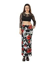 Bfly Black Printed Straight Lycra Women Skirt