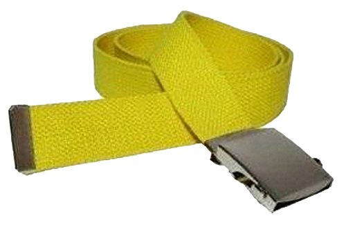 Yellow One Size Canvas Military Web Belt With Silver Slider Buckle
