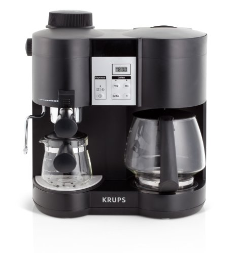 KRUPS XP160050 Coffee Maker and Espresso Machine Combination with Milk Frothing Nozzle for Cappuccino, 10-cup, Black