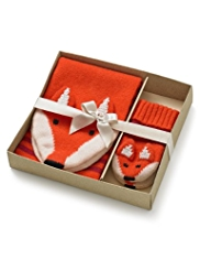 2 Piece Wool Rich Fox Scarf & Mittens Set with Cashmere in Gift Box