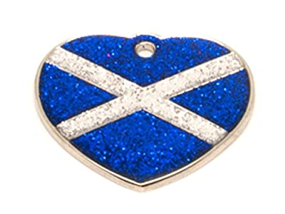 Reflective Glitter Heart Scottish Saltire Flag Design Dog/Cat Pet ID Tags Engraved.......TO LEAVE ENGRAVING DETAILS PLEASE READ PRODUCT DESCRIPTION LOWER DOWN THIS PAGE.