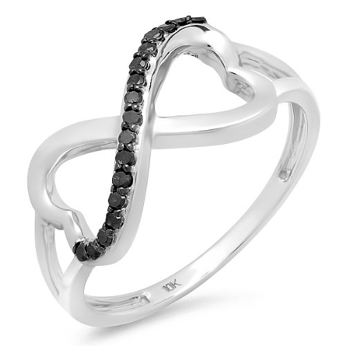 Black Diamond Double Heart Infinity Ring in 10k White Gold