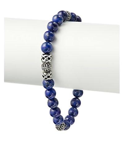 Blackjack Genuine Lapis Lazuli & Stainless Steel Bead Bracelet