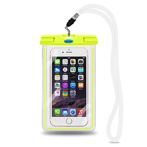 Universal Waterproof Pouch Case,JanCalm [Luminous Feature] IPX8 Certified Protective Smartphone Credit Card Waterproof Bag Life Case for iPhone 6 Plus/6/5s/5/5C/4S,for Galaxy S6,S5,S4 Etc (Green) (Otterbox Samsung 5 Mini compare prices)