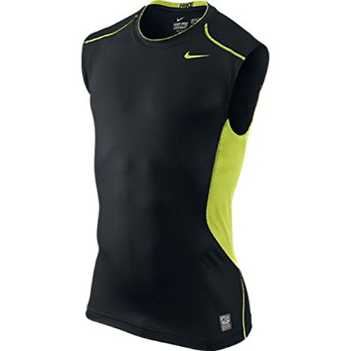 Nike Mens Pro Combat Hypercool Fitted Sleeveless T Shirt Black Volt Small