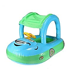 Rainbowkids Cute Baby Float Seat Boat With Inflatable Ring,Adjustable Car Sunshade Buggy Swim Pool With Canopy,Pool Floats For 6 36 Months Old ,Blue And Red