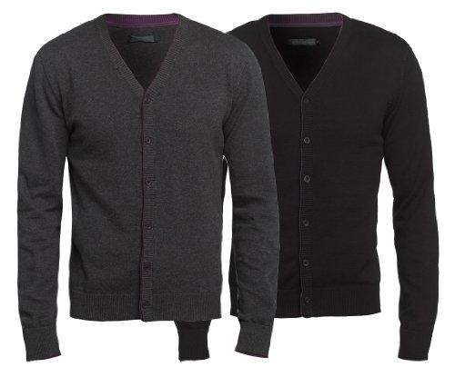Mens High Quality Stylish Cardigan Contrast Tipping Charcoal Black Slim Fit S M L XL XXL