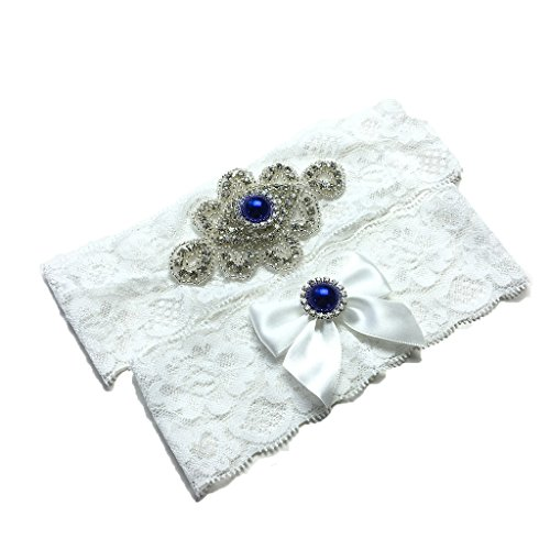 Unibuy Lace Wedding Garter Set With Navy Pearl Rhinestone(2 Pieces)