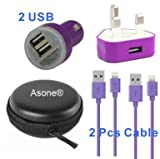 Asone Purple 4-in-1 Earphone/cable Hard Case/Bag + Wall Charger + Car Charger+ 1M Length USB Sync Data / Charging Cable for iPhone 5 / 5C / 5S iPad Mini iPod Touch 5th Gen