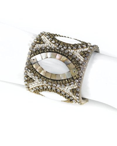 Beaded Cuff Bracelet with Unique Oval Design